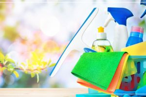 spring day with cleaning supplies