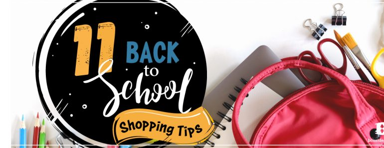 backpack and school supplies with a fun bright 11 ways to back to school shopping title