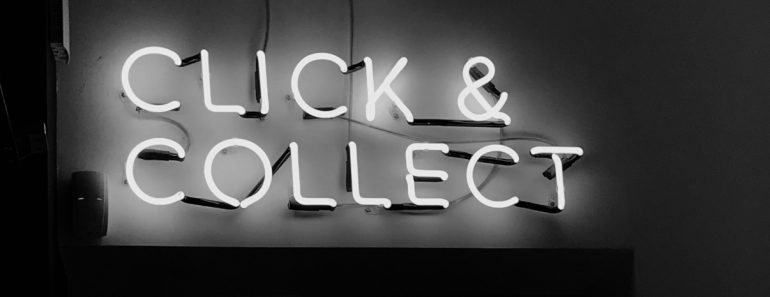 click and collect electric bulb sign in black and white - ominous feel